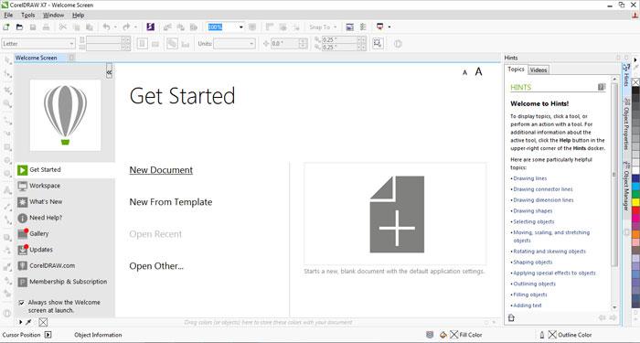 open document palette in corel draw x7
