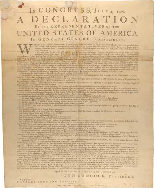 what document was adopted on july 4 1776