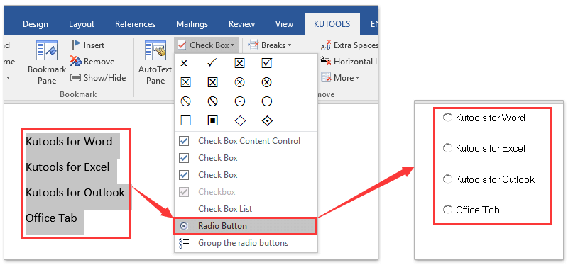 how to put a checkbox in a word document