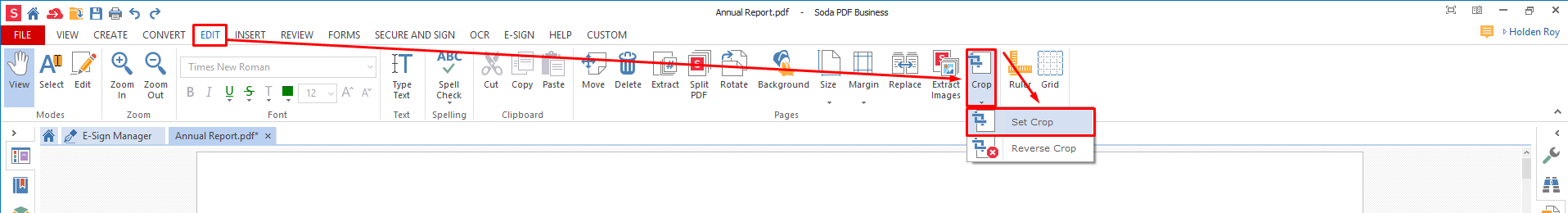 how to select one page fromt pdf document