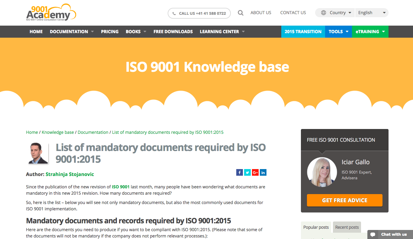 iso 9001 documentation requirements
