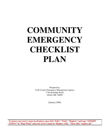 what is an emergency plan required to document