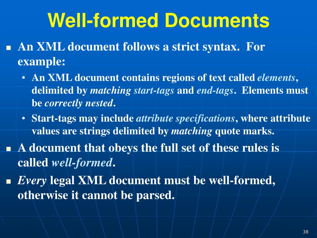 well formed xml document contains