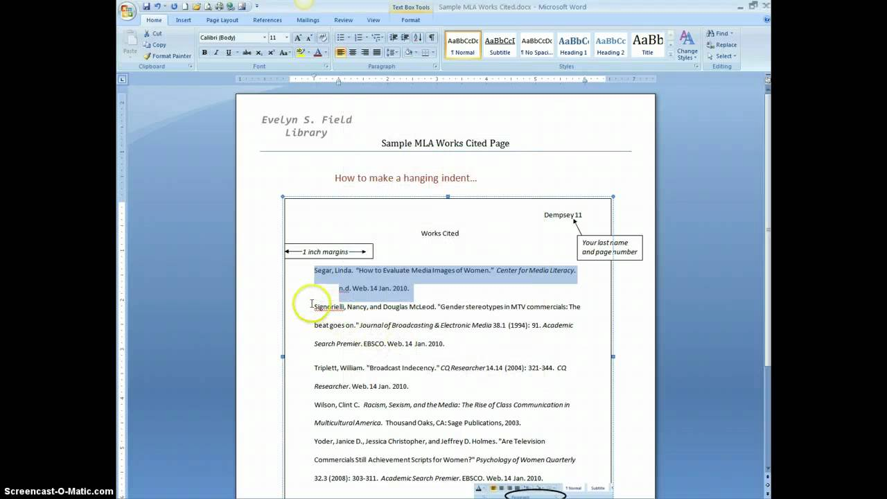 how do you present a document with bibliography