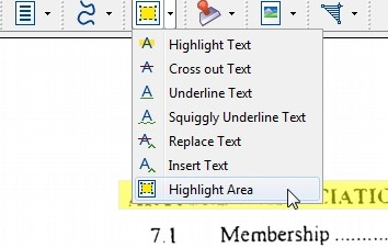 highlight text in pdf document