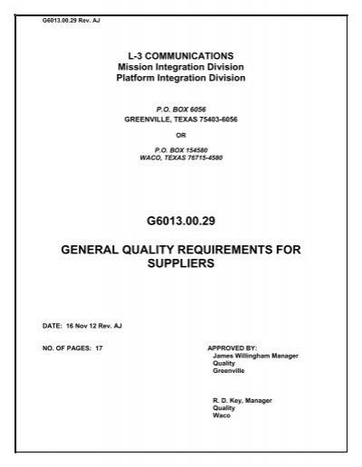 quality requirements for documentation