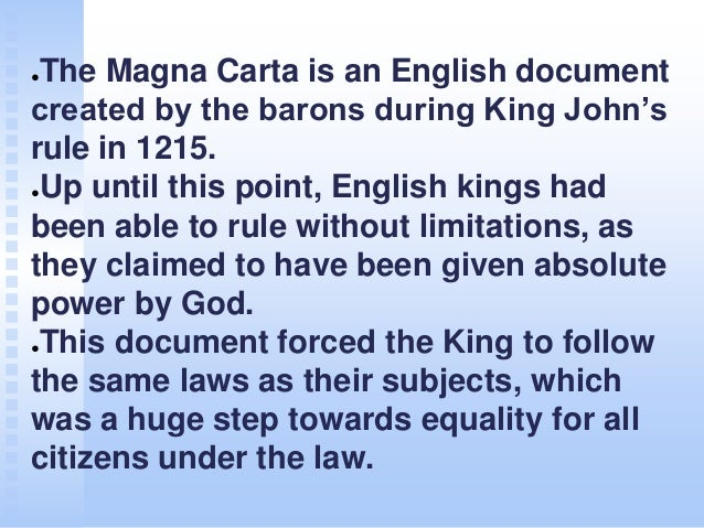 the magna carta was the first document to