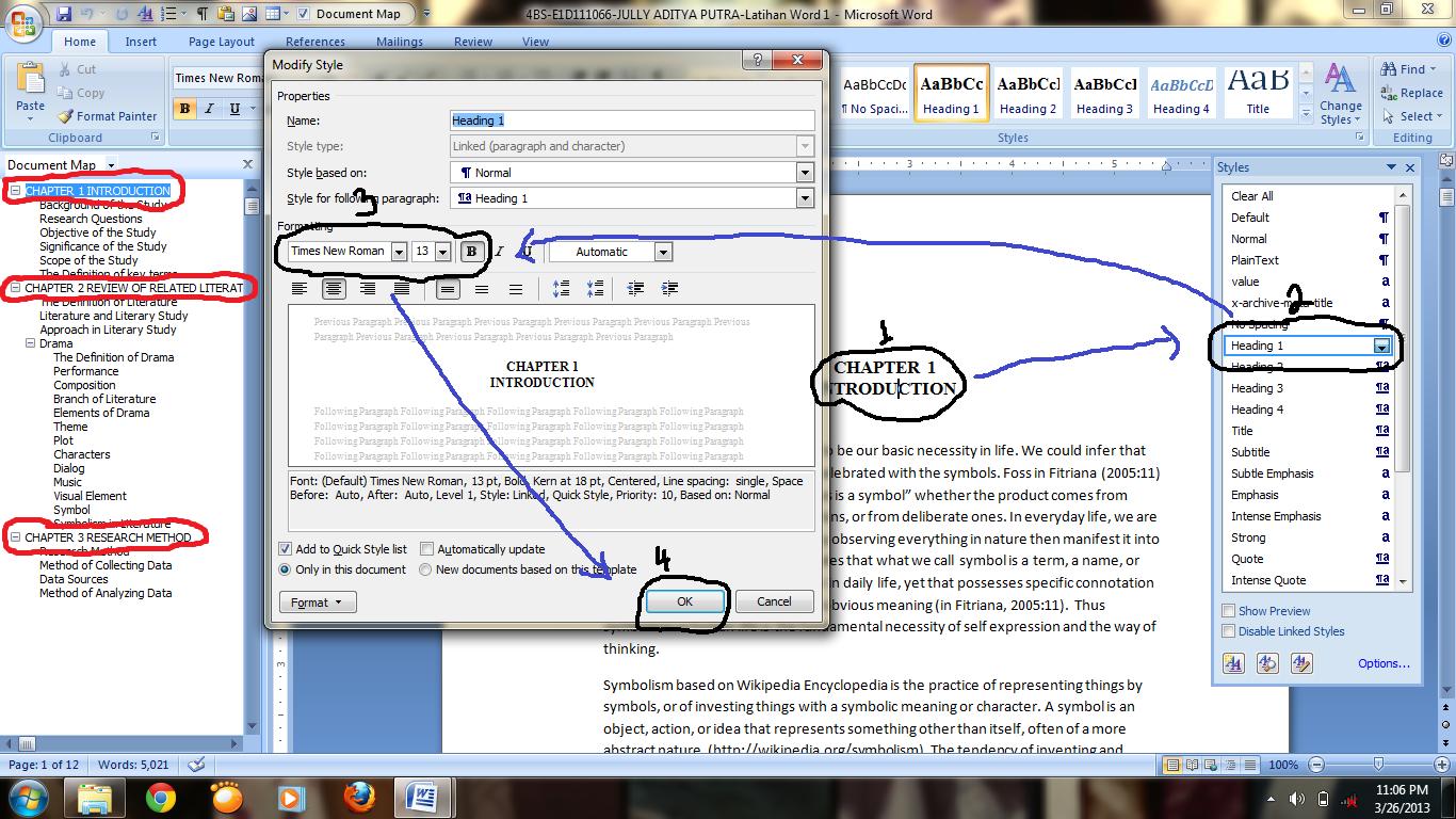add heading to document map mac