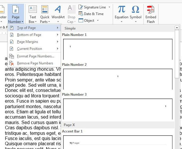 how to put numbers on word document