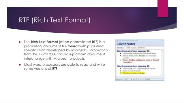 word or rich text document