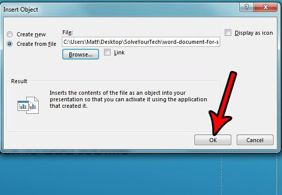 how to insert a powerpoint slide into a word document