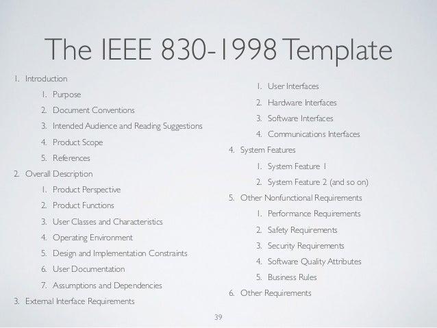 documentation standards ieee 830 1998