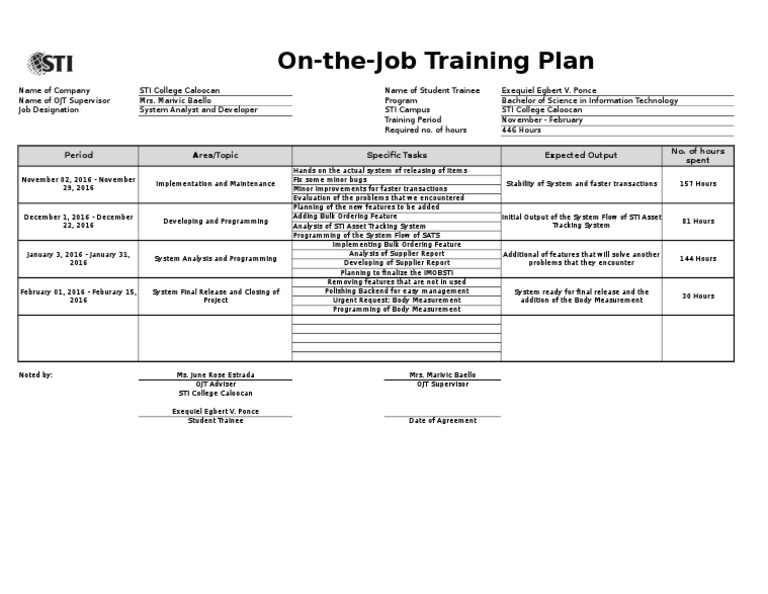 how to document a training plan