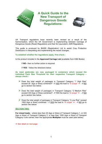 dangerous goods shipping document for road transport