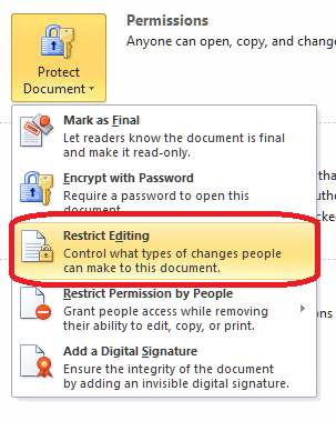 password protect word document office 2013