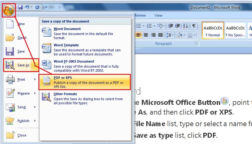 creating a document in ms word 2007