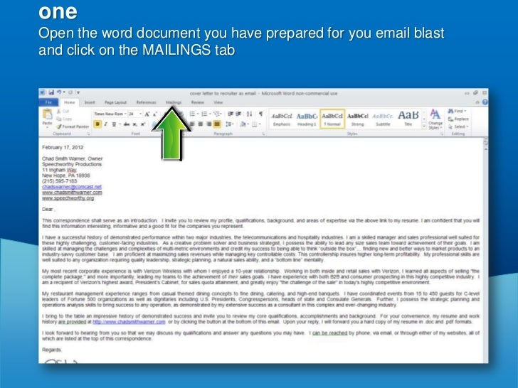 how to use word document as email blast
