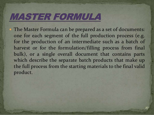 what comprises a master document