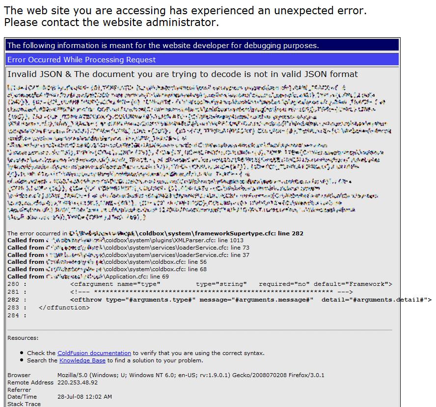 fatal error 1 1 invalid document structure