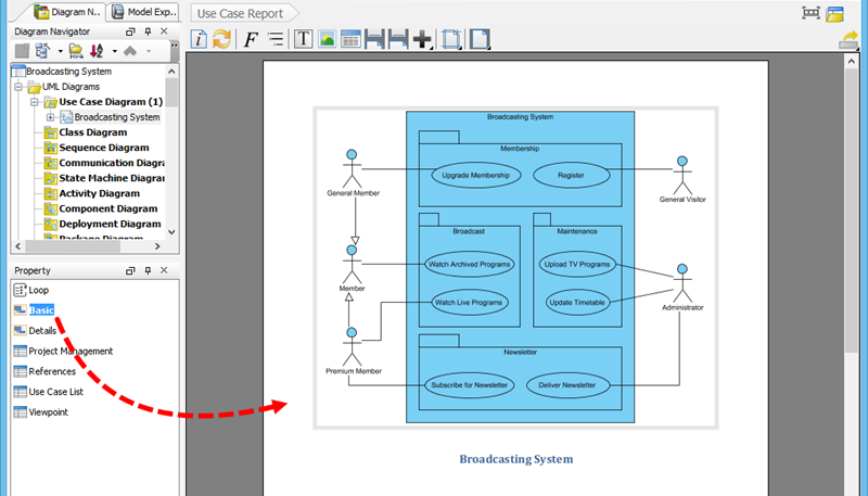 use case diagram description document