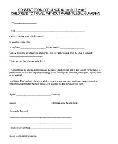 child travel consent form australia document