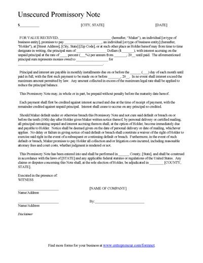 document to demand repayment of unsecured loan