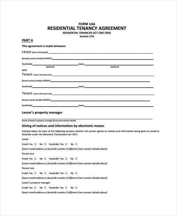 simple tenancy agreement uk word document
