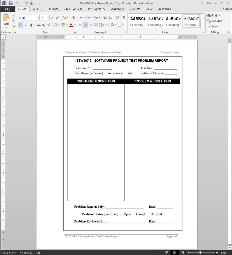 software project documentation template