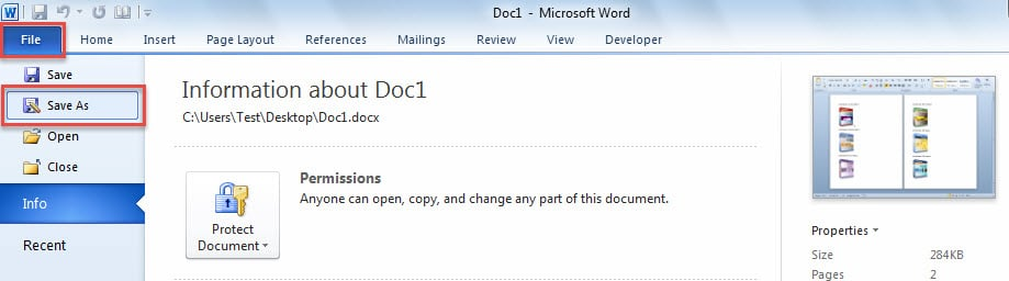 attach word document as a copy in outlook email