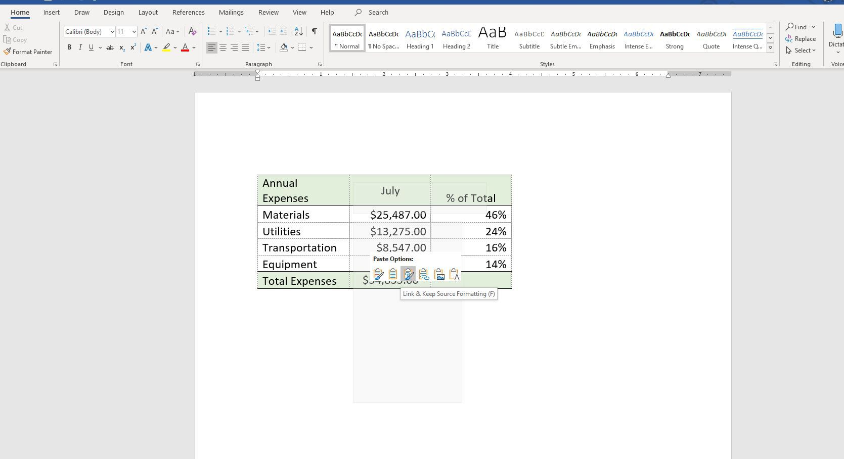 how to embed word document in excel