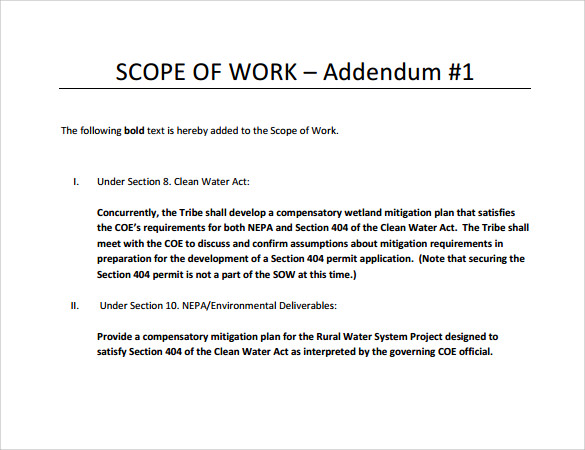 construction scope of work document template