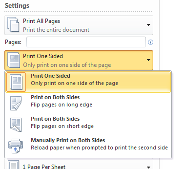 word 2007 document double sided printing