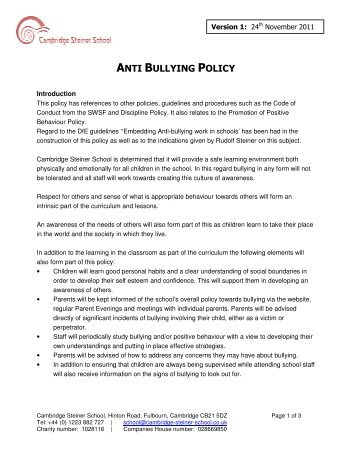 anti bullying and procedure document