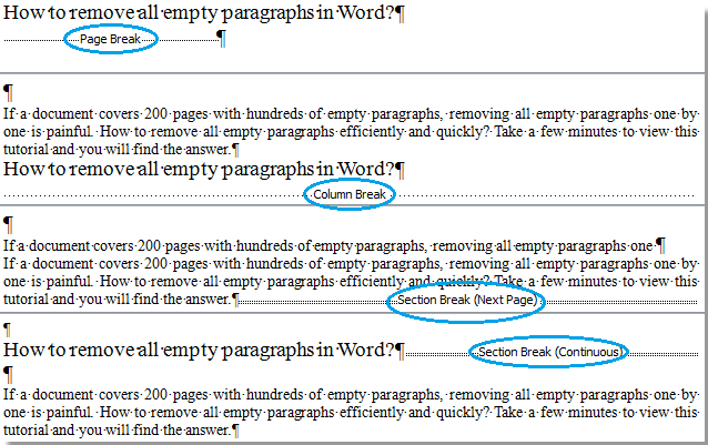remove sections from word document