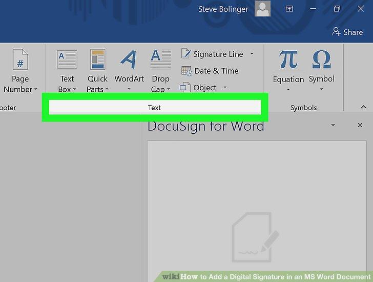 insert signature on word document