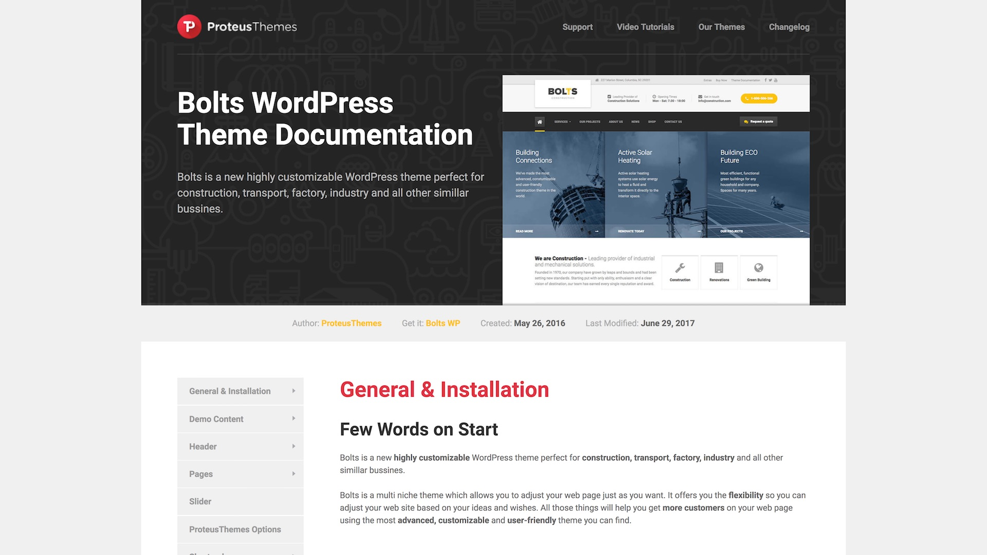 wordpress theme documentation for developers