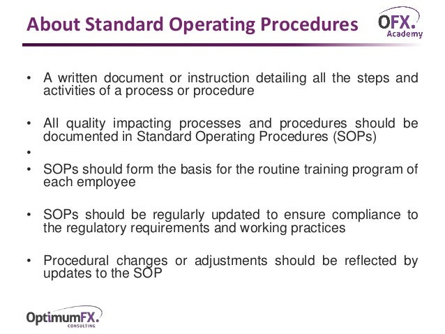standard operating procedure document definition