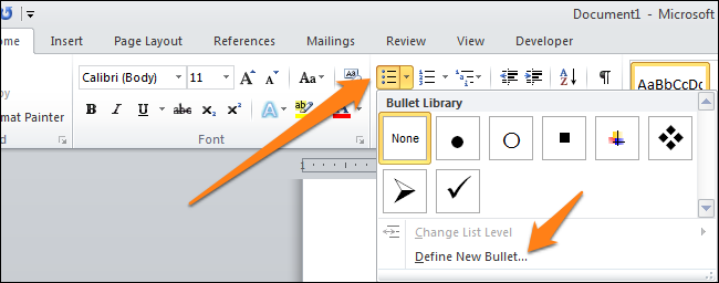 how to put a tick in word document