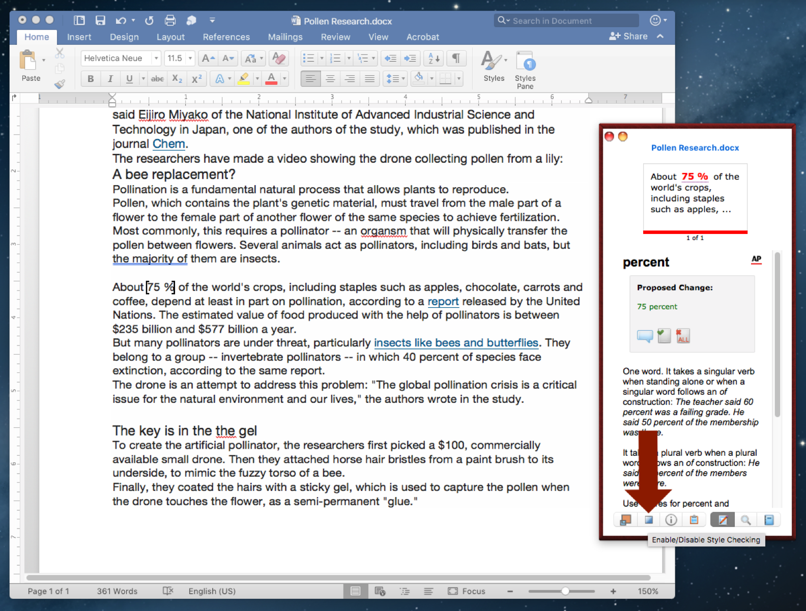 word document turn off research