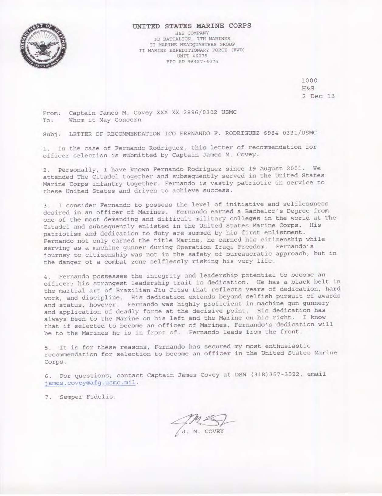 document control letter of recommendation