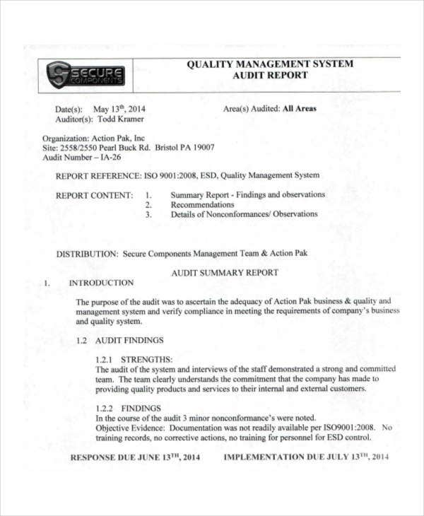 quality management system sample document