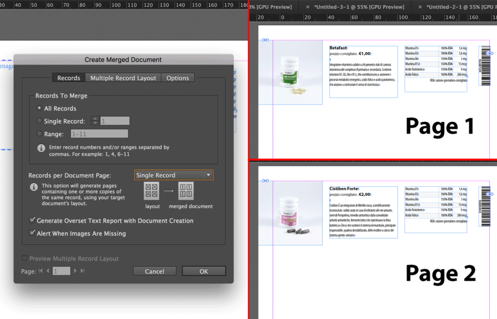 how to select on page to merge document in indesign