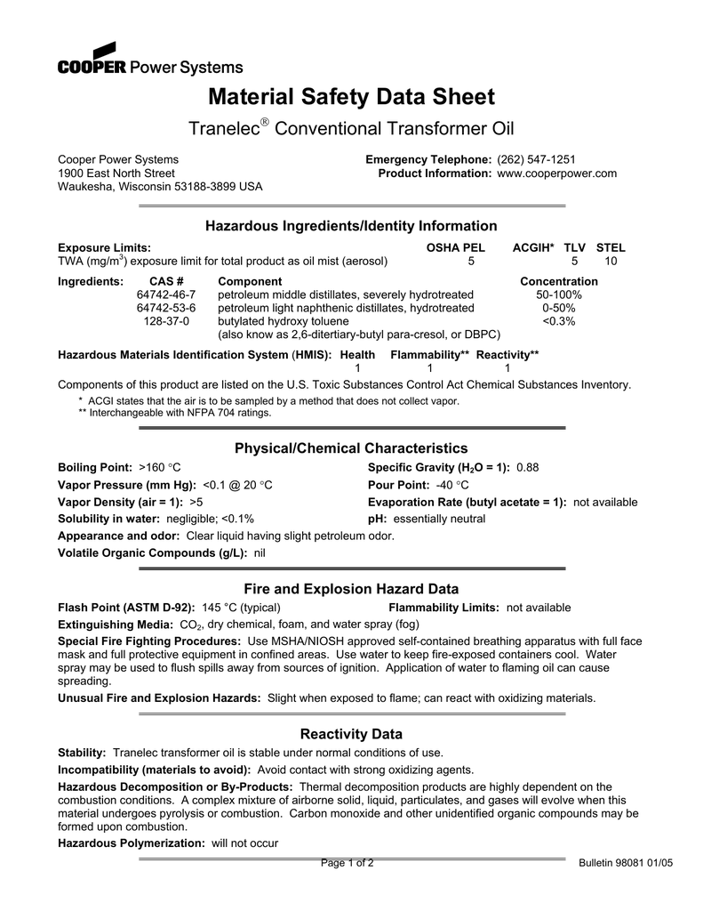 document of safety information about a toxic chemical spill