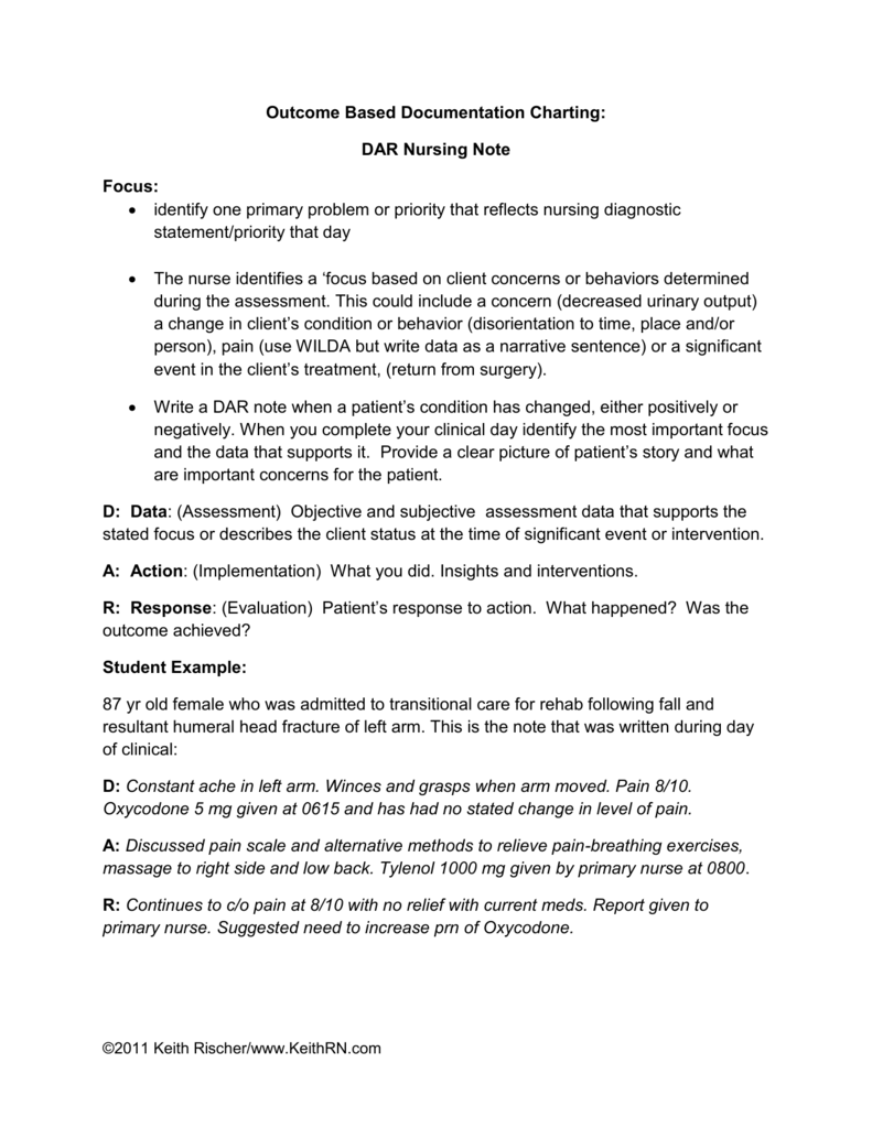 sample nurses notes documentation