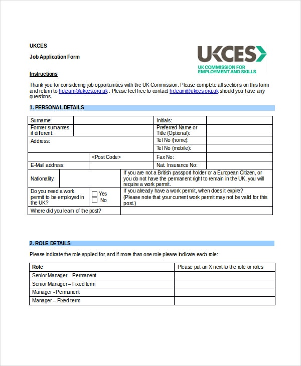 job application form word document