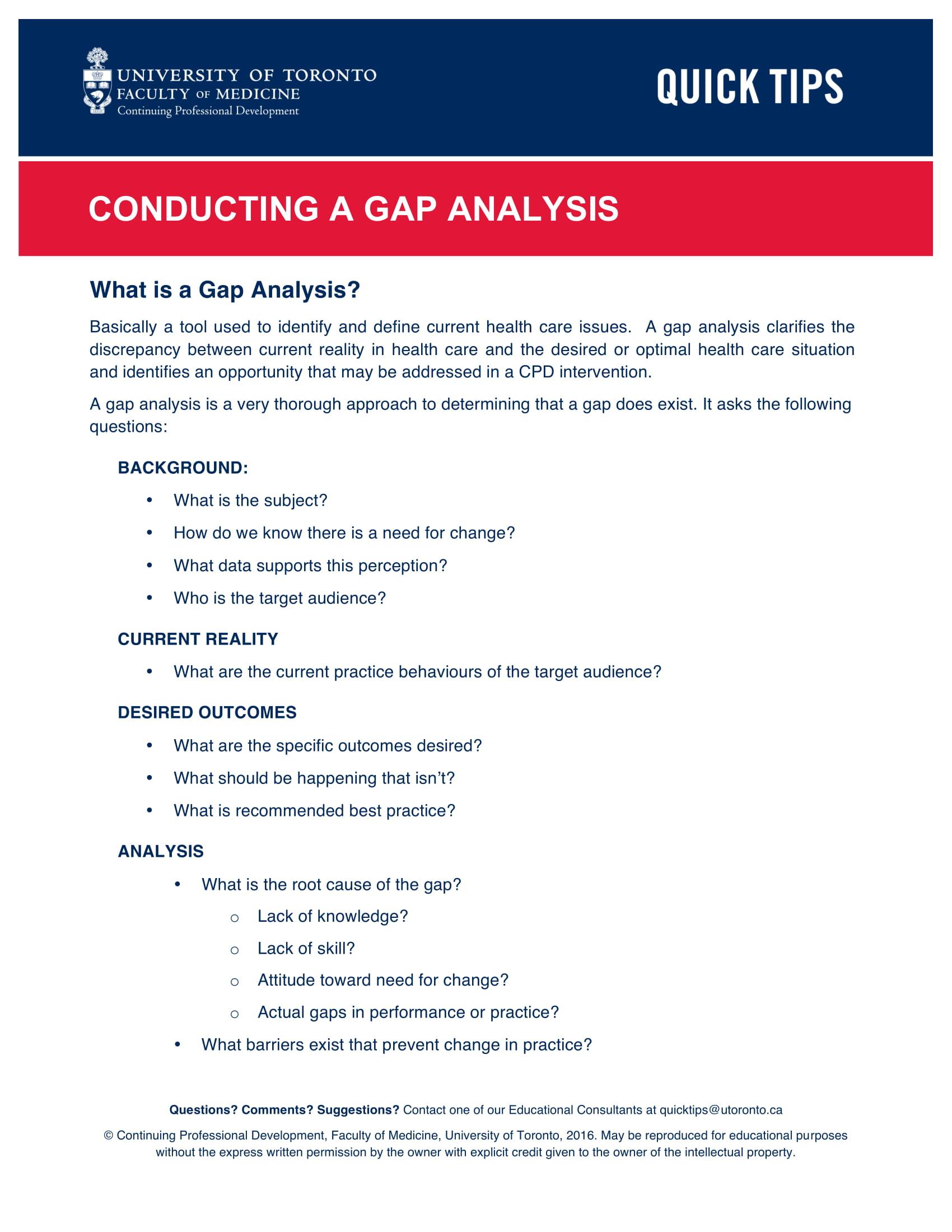 gap analysis explained example document