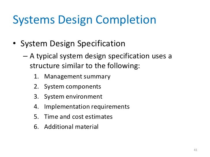 what is system design document