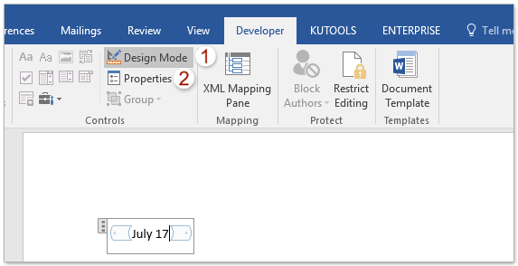 insert current date in word document
