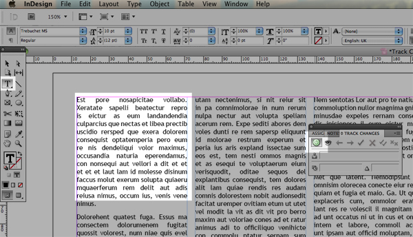 indesign select all text within table in document