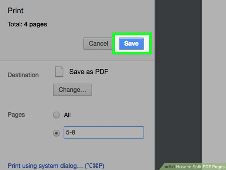 how do you split pages in a pdf document mac